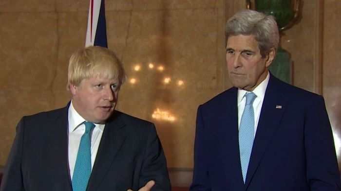 UK Foreign Secretary Boris Johnson and US Secretary of State John Kerry briefing journalists after their meeting in London [16/10/2016]